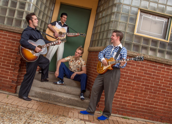 Million Dollar Quartet stars (from left) Bill Scott Sheets as Johnny Cash, Kavan Hashemian as Elvis Presley, Gavin Rohrer as Jerry Lee Lewis and Adam Wesley Brown as Carl Perkins. Credit: Thomas J. King Photography