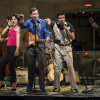 (from left) Courtney Mack as Dyanne, Adam Wesley Brown as Carl Perkins, Kavan Hashemian as Elvis Presley and Bill Scott Sheets as Johnny Cash. Credit: Liz Lauren